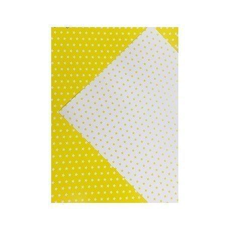 10 Hojas de papel A4, impreso a doble cara. Estrellas amarillas.