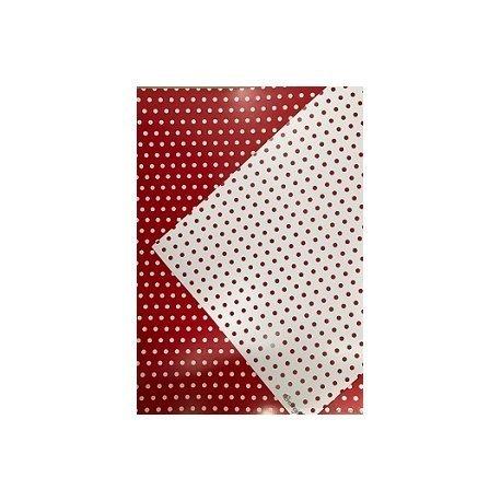 10 Hojas de papel A4, impreso a doble cara. Lunares rojos