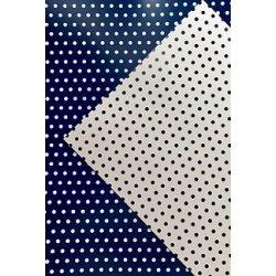 10 Hojas de papel A4, impreso a doble cara. Lunares azul marino