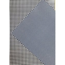 10 Hojas de papel A4, impreso a doble cara. Cuadros vichy azul marino
