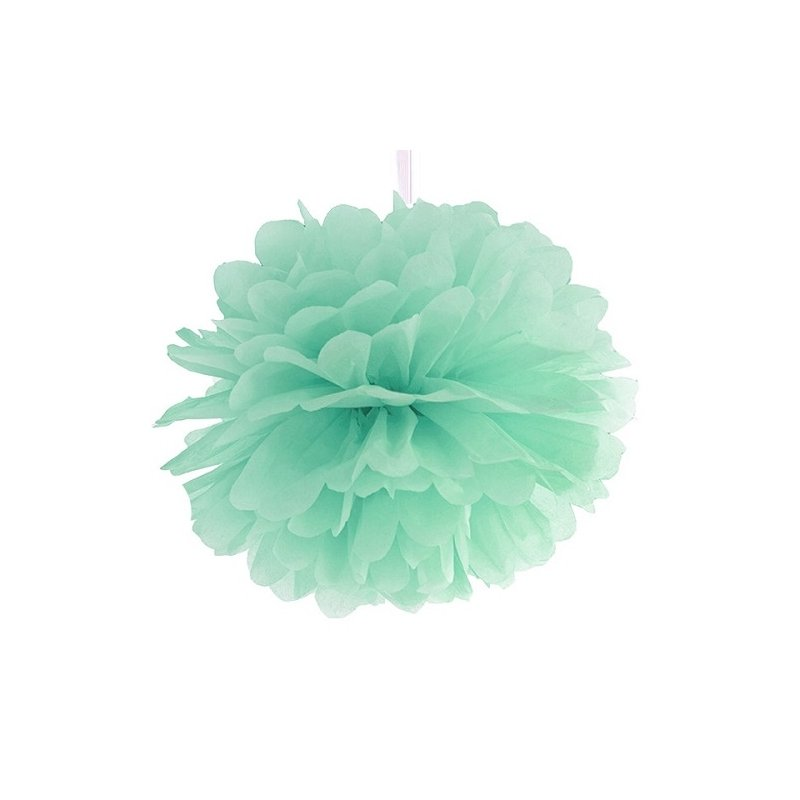 Pompón de papel de seda, mint. 25 cms