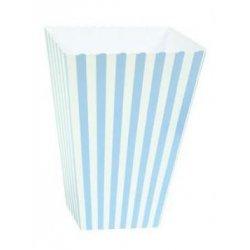 6 Cajas para palomitas. Rayas azul claro