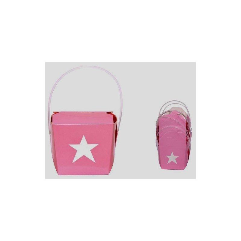 6 Cajas chinas de papel rosa con estrella blanca