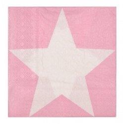 20 Servilletas de papel, rosa con estrella blanca