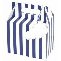 6 Cajas picnic, rayas azules y blancas 14x9.5x12 CM. 3 colores surtidos