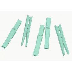 10 Pinzas de madera turquesa-mint