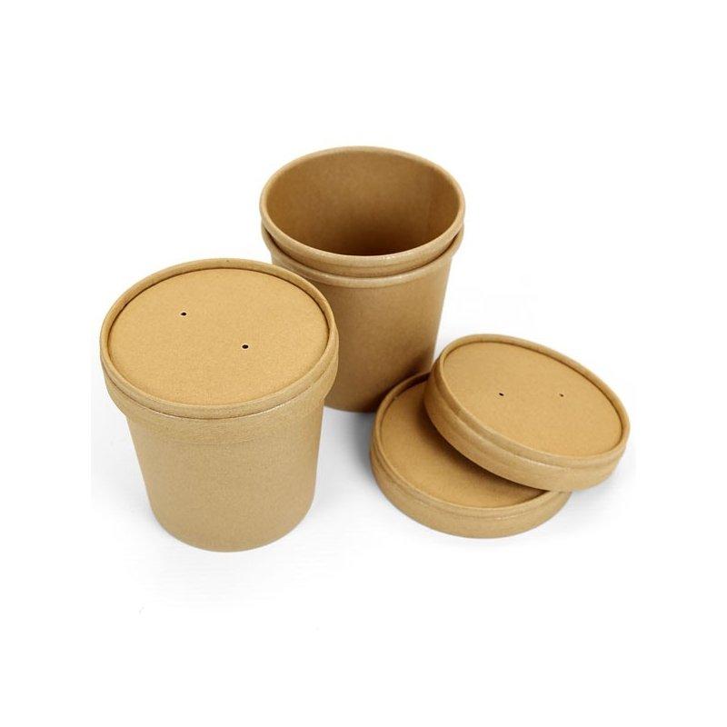 50 Tarrinas-vaso kraft, con tapa. 480 ml