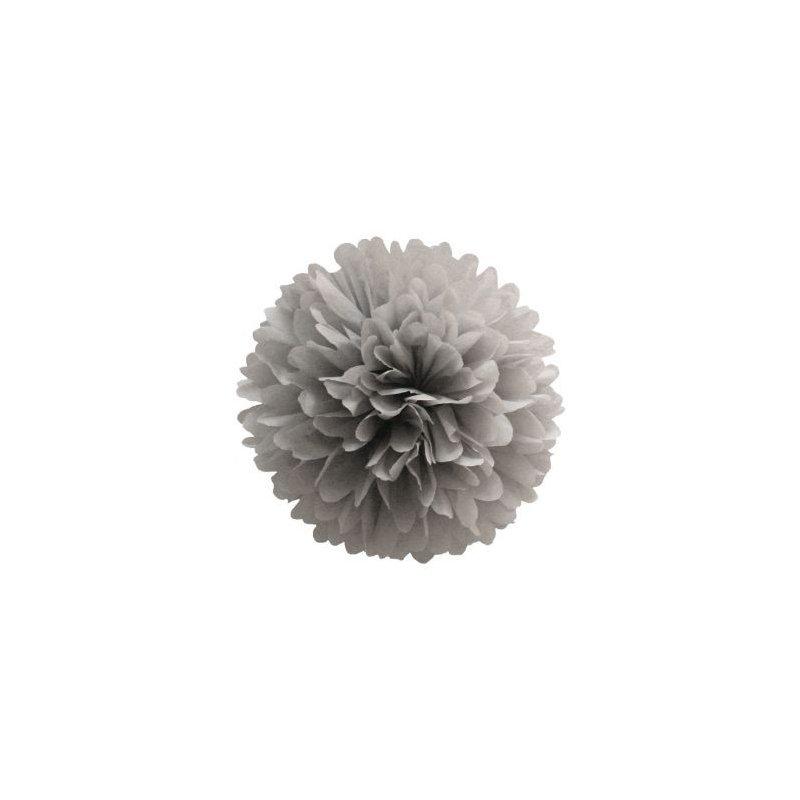 Pompón de papel de seda, gris. 35 cms