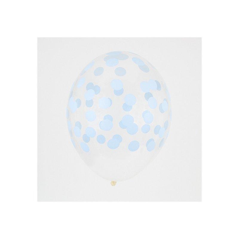 5 Globos transparentes, impresos con lunares azul claro