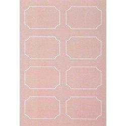 48 Etiquetas adhesivas, orla rosa