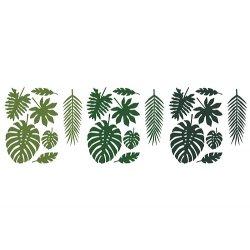Set de 21 hojas tropicales-hojas de palmera.