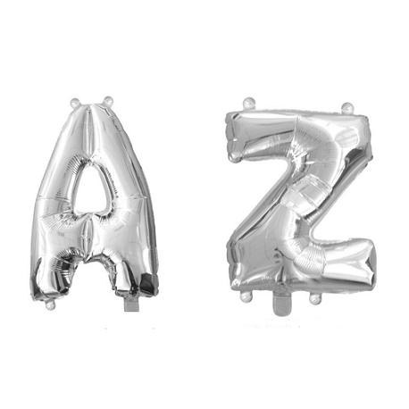 Globo metalizado plata, 45 cms. Letras de la A a la Z.