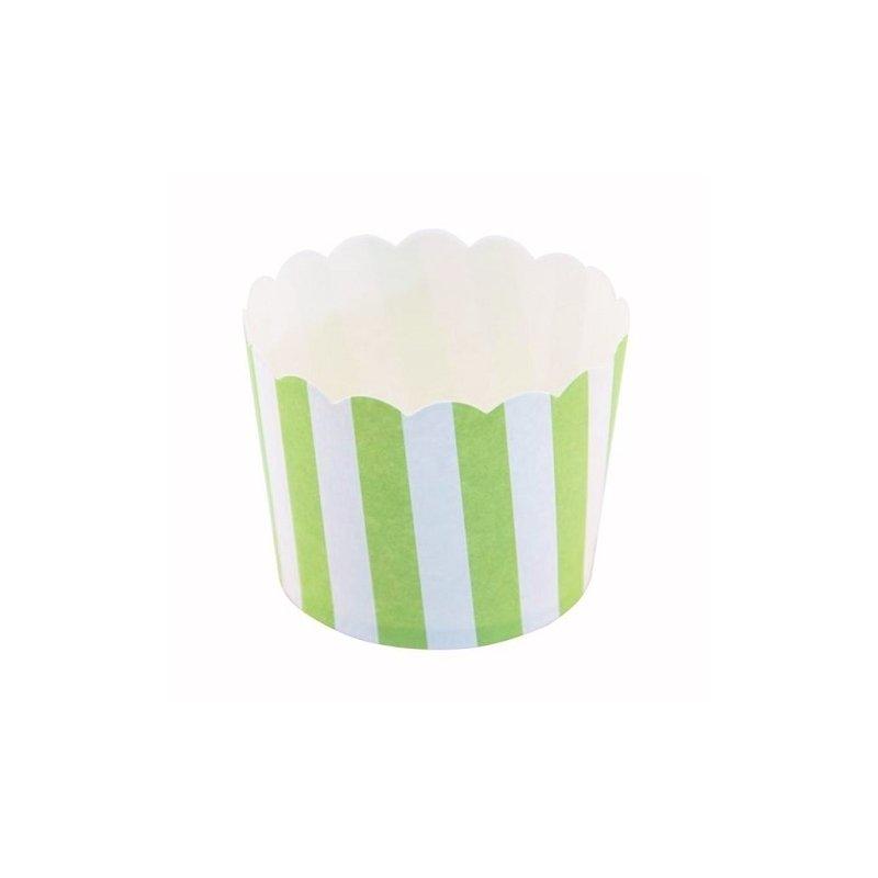 12 Tarrinas-cápsulas de papel para chuches ó helado. Rayas verdes