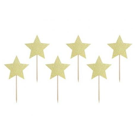 6 Toppers estrella oro glitter