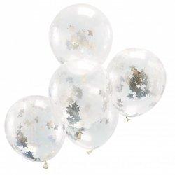 5 Globos de látex, transparente con confeti de estrellas plata holográficas
