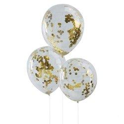 5 Globos de látex, transparente con confeti dorado