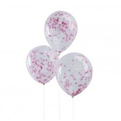5 Globos de látex, transparente con confeti rosa