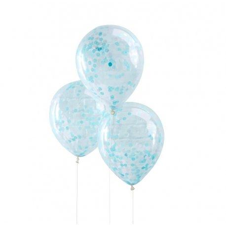 5 Globos de látex, transparente con confeti azul.