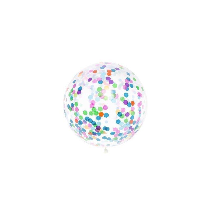Globo de látex transparente con confeti multicolor. 1 metro