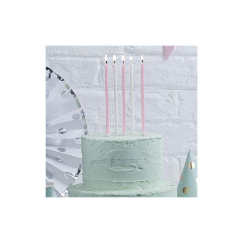 24 Velas altas rosa y blanco. 14 cms