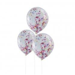 5 Globos de látex, transparente con confeti de colores