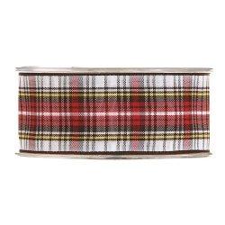 20 m de Cinta de regalo escocesa, blanca y roja. Ancho 38 mm.