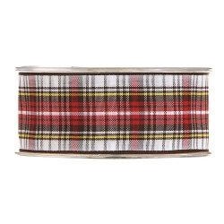 20 m de Cinta de regalo escocesa, blanca y roja. Ancho 25 mm