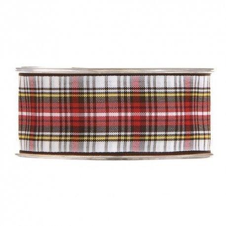 20 m de Cinta de regalo escocesa, blanca y roja. Ancho 12 mm