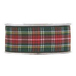 20 m de Cinta de regalo escocesa, verde y roja. Ancho 25 mm