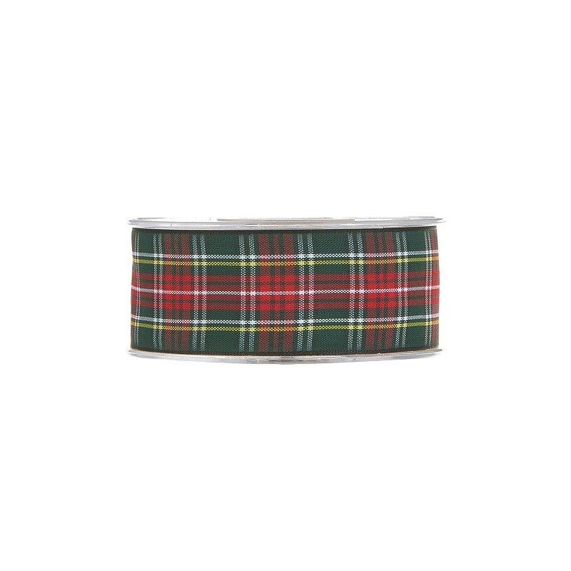 20 m de Cinta de regalo escocesa, verde y roja. Ancho 12 mm