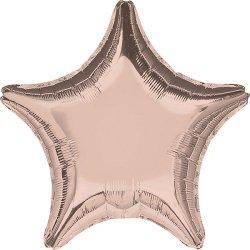 Globo metalizado estrella Rosa dorado. 48 cms