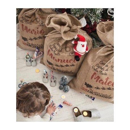 Saco de yute personalizable para regalos. Papá Noel y Reyes Magos
