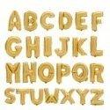 Globo Letras metalizadas doradas, 45 cms. Letras de la A a la Z.