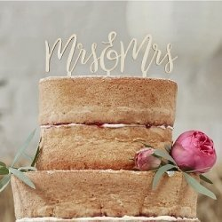 Topper de madera para tarta, Mr & Mrs