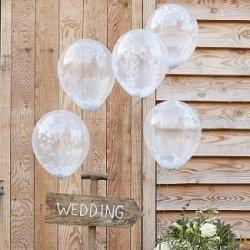 5 Globos de látex, transparente con confeti blanco