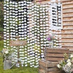 Cortina de flores blancas - Fondo photocall - Back drop - Mesas Dulces. Agotado temporalmente
