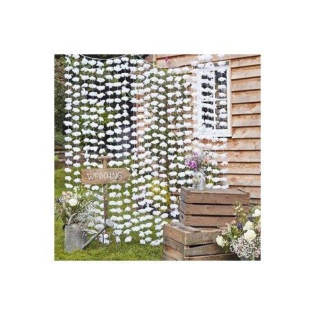 Cortina de flores blancas - Fondo photocall - Back drop - Mesas Dulces.
