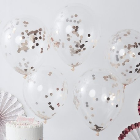 5 Globos de látex, transparente con confeti Cobre-oro rosa.