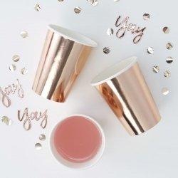 8 Vasos de papel, cobre-oro rosa, metalizados