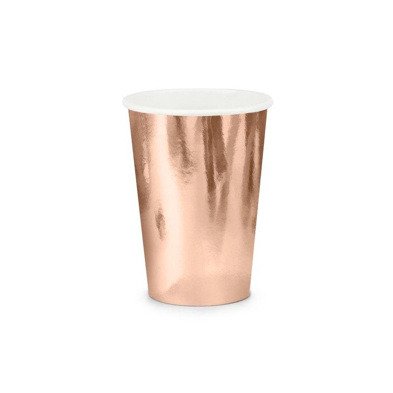 6 Vasos de papel, cobre-oro rosa, metalizados