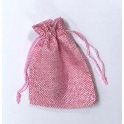 10 Sacos de tela rústica 9.5x13.5 cms. Rosa claro