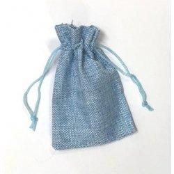 10 Sacos de tela rústica 9.5x13.5 cms. Azul claro