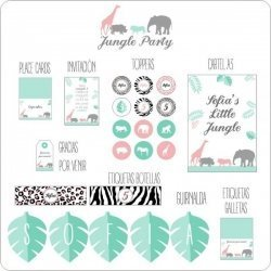 Kit de Fiesta imprimible LITTLE JUNGLE PARTY ROSA - Sin personalizar
