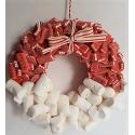 Corona de Navidad con chuches. Nubes y ladrillos