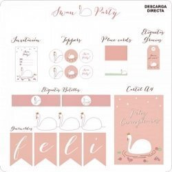 kit de Fiesta imprimible SWAN PARTY - Sin personalizar