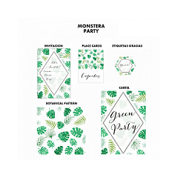 kit de Fiesta imprimible MONSTERA-TROPICAL - Sin personalizar