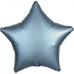 Globo metalizado/foil, Estrella satín azul acero. 45 cms