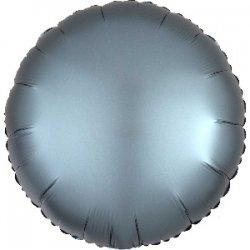 Globo metalizado/foil Círculo satín azul acero. 45 cms