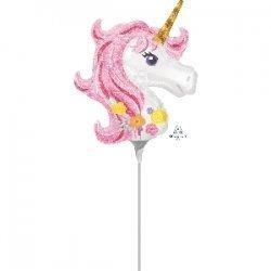 Mini Globo Unicornio. Hinflado, con palito.