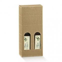 5 Cajas para 2 botellas, microcanal kraft 9x4.5x21.5 cms.
